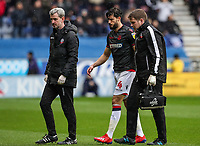 Bolton Wanderers' Jason Lowe goes off with an injury <br /> <br /> Photographer Andrew Kearns/CameraSport<br /> <br /> The EFL Sky Bet Championship - Wigan Athletic v Bolton Wanderers - Saturday 16th March 2019 - DW Stadium - Wigan<br /> <br /> World Copyright &copy; 2019 CameraSport. All rights reserved. 43 Linden Ave. Countesthorpe. Leicester. England. LE8 5PG - Tel: +44 (0) 116 277 4147 - admin@camerasport.com - www.camerasport.com
