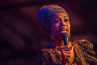 Jazzmeia Horn performs during the Duke Performances In The Jazz Tradition series at The Durham Fruit & Produce Company in Durham, North Carolina, Friday, December 7, 2018  (Justin Cook)