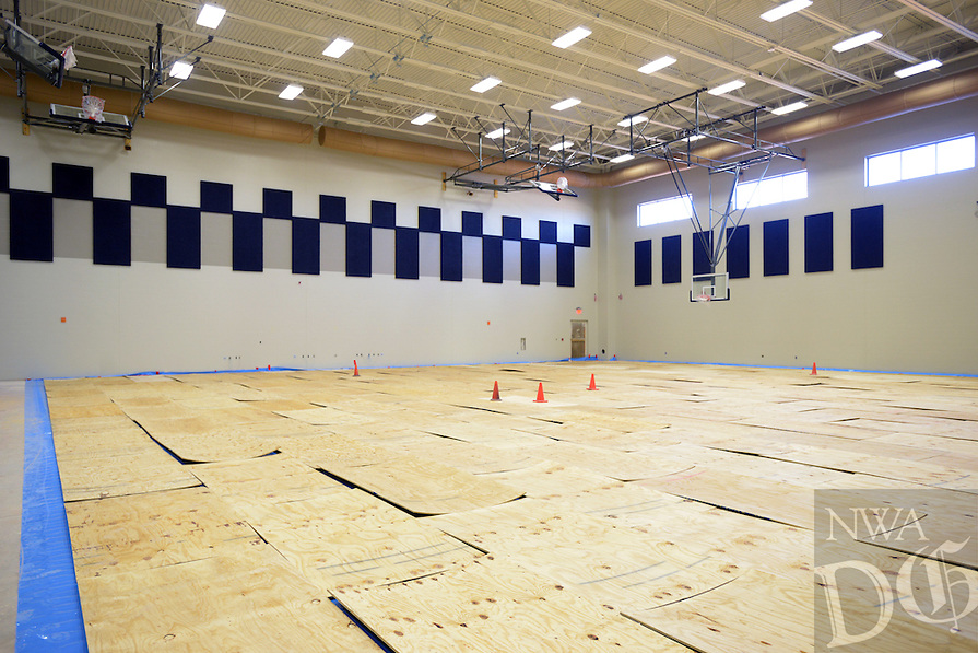 NWA Democrat-Gazette/BEN GOFF @NWABENGOFF<br /> A view of the auxiliary gym on Monday Jan. 18, 2016 as the Bentonville West High School offers tours of the new school under construction in Centerton for future students and parents.