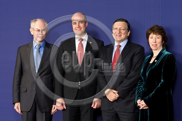 BRUSSELS - BELGIUM - 19 NOVEMBER 2009 --  BRUSSELS - BELGIUM - 19 NOVEMBER 2009 -- Newly appointed European Union President Herman Van Rompuy, left, poses with the newly appointed EU's new foreign policy chief Catherine Ashton, right, European Commission President Jose Manuel Barroso, second right, and Swedish Prime Minister Fredrik Reinfeldt at the European Council building in Brussels, Thursday, Nov. 19, 2009. Belgium's Prime Minister Herman Van Rompuy was chosen as a compromise candidate by 27 EU leaders at a summit in Brussels on Thursday. He will take office on Jan. 1. The EU leaders also named trade commissioner Catherine Ashton of Britain as the EU's new foreign policy chief.  -- PHOTO: Juha ROININEN / EUP-IMAGES