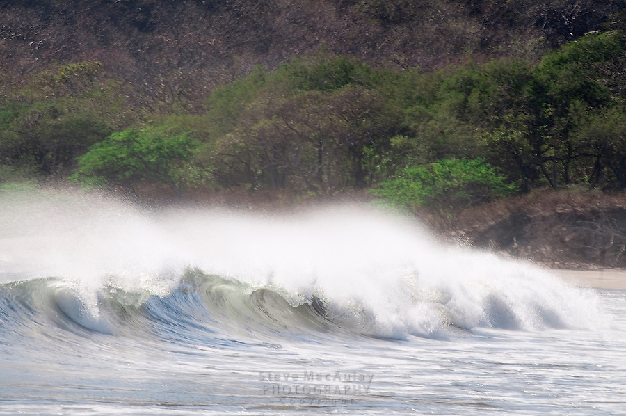 Wind blowing the tops off the waves as they come ashore, Morgan's Rock Hacienda and Eco Lodge, Nicaragua