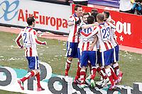 Atletico de Madrid's players celebrate goal during La Liga match.February 7,2015. (ALTERPHOTOS/Acero) /NORTEphoto.com