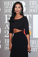 Maya Jama at the 2017 Brit Awards at the O2 Arena in London, UK. <br /> 22 February  2017<br /> Picture: Steve Vas/Featureflash/SilverHub 0208 004 5359 sales@silverhubmedia.com