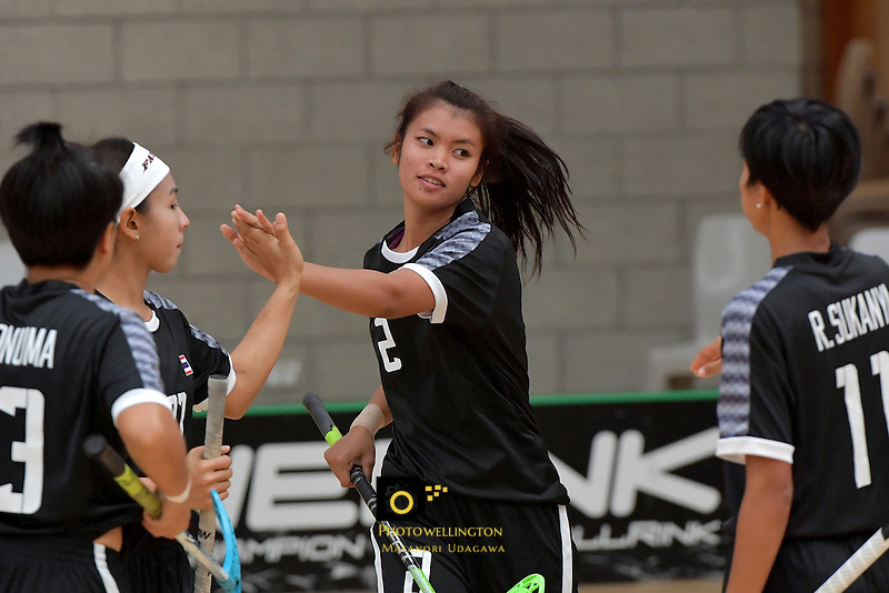 Thailand's Lalita Kuraphanew in action during the World Floorball Championships 2017 Qualification for Asia Oceania Region - Singapore v Thailand at ASB Sports Centre , Wellington, New Zealand on Sunday 5 February 2017.<br /> Photo by Masanori Udagawa<br /> www.photowellington.photoshelter.com.