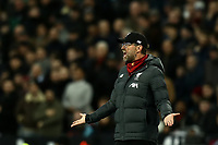 29th January 2020; London Stadium, London, England; English Premier League Football, West Ham United versus Liverpool; Liverpool Manager Jurgen Klopp questions a refs decision