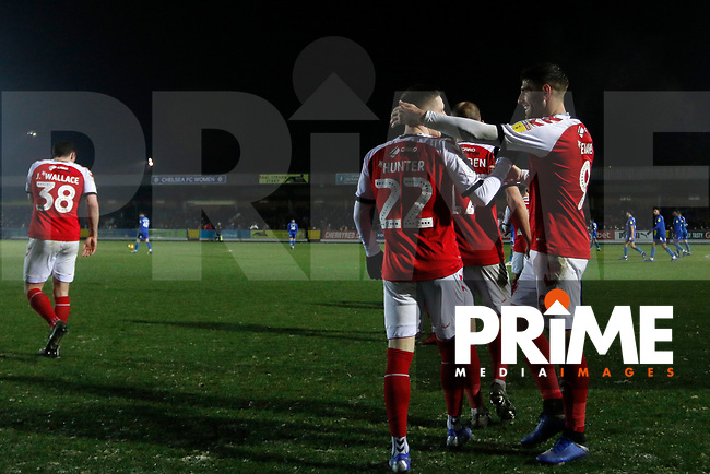 GOAL - Ashley Hunter of Fleetwood Town celebrates his goal during the Sky Bet League 1 match between AFC Wimbledon and Fleetwood Town at the Cherry Red Records Stadium, Kingston, England on 22 January 2019. Photo by Carlton Myrie / PRiME Media Images.
