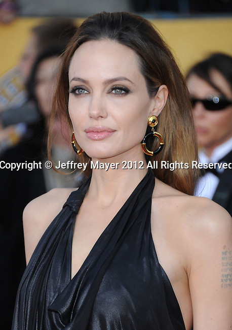 LOS ANGELES, CA - JANUARY 29: Angelina Jolie arrives at the 18th Annual Screen Actors Guild Awards held at The Shrine Auditorium on January 29, 2012 in Los Angeles, California.