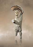 9th century BC Giants of Mont'e Prama  Nuragic stone statue of a boxer, Mont'e Prama archaeological site, Cabras. 2014 excavation. Civico Museo Archeologico Giovanni Marongiu - Cabras, Sardinia