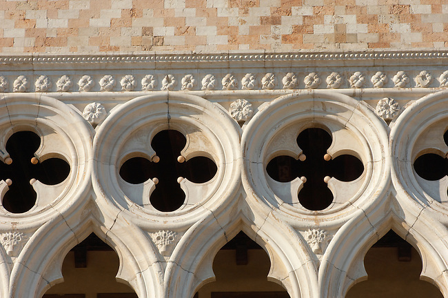 Detail of stone work - The Doge's Palace - Venice Italy.
