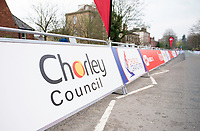 Picture by Allan McKenzie/SWpix.com - 15/04/18 - Cycling - HSBC UK British Cycling Spring Cup Road Series - Chorley Grand Prix 2018 - Chorley, England - Chorley Council, signage, branding, finishing straight.