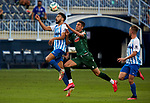 Luis Munoz (Malaga CF) and Francisco Montero (RC Deportivo de la Coruna) competes for the ball during La Liga Smartbank match round 39 between Malaga CF and RC Deportivo de la Coruna at La Rosaleda Stadium in Malaga, Spain, as the season resumed following a three-month absence due to the novel coronavirus COVID-19 pandemic. Jul 03, 2020. (ALTERPHOTOS/Manu R.B.)