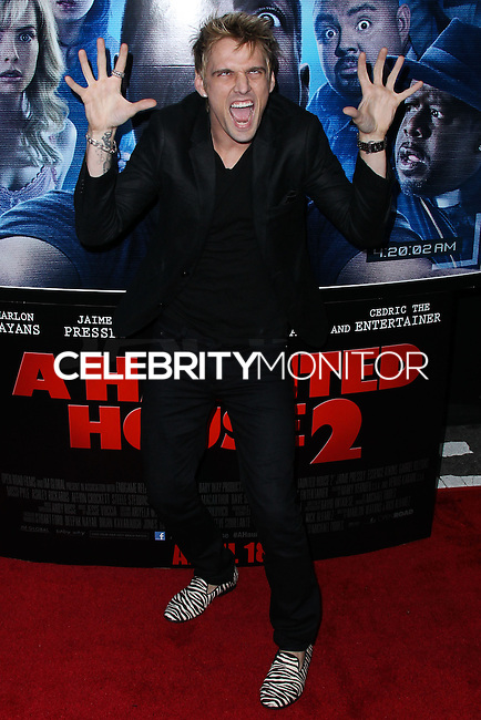 """LOS ANGELES, CA, USA - APRIL 16: Singer Aaron Carter arrives at the Los Angeles Premiere Of Open Road Films' """"A Haunted House 2"""" held at Regal Cinemas L.A. Live on April 16, 2014 in Los Angeles, California, United States. (Photo by Xavier Collin/Celebrity Monitor)"""
