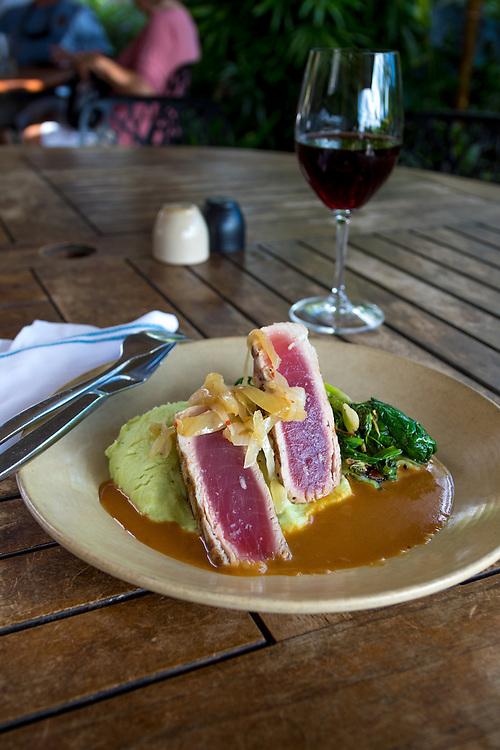 The Kiawe Ahi at Monkeypod Kitchen, a restaurant in Wailea, Maui, Hawaii, USA