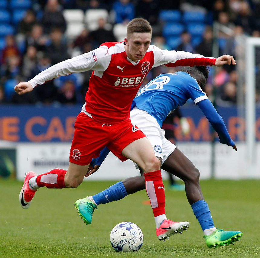 Fleetwood Town's Ashley Hunter gets away from Peterborough United's Leo Da-Silva-Lopes<br /> <br /> Photographer David Shipman/CameraSport<br /> <br /> The EFL Sky Bet League One - Peterborough United v Fleetwood Town - Friday 14th April 2016 - ABAX Stadium  - Peterborough<br /> <br /> World Copyright &copy; 2017 CameraSport. All rights reserved. 43 Linden Ave. Countesthorpe. Leicester. England. LE8 5PG - Tel: +44 (0) 116 277 4147 - admin@camerasport.com - www.camerasport.com