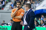 San Pablo Burgos coach Diego Epifanio talking with the referee during Liga Endesa match between Real Madrid and Unicaja Malaga at Coliseum Burgos in Burgos , Spain. January 27, 2018. (ALTERPHOTOS/Borja B.Hojas)