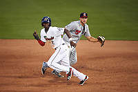 Fort Myers Miracle shortstop Nick Gordon (2) running the bases in front of first baseman Dustin DeMuth (4) during a game against the Brevard County Manatees on April 13, 2016 at Hammond Stadium in Fort Myers, Florida.  Fort Myers defeated Brevard County 3-0.  (Mike Janes/Four Seam Images)