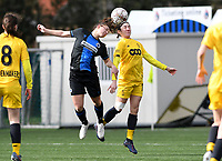 20200329 – BRUGGE, BELGIUM : Club Brugge's Jody Vangheluwe pictured Standard's Noemie Gelders (10) during a women soccer game between Dames Club Brugge and Standard Femina de Liege on the 17 th matchday of the Belgian Superleague season 2019-2020 , the Belgian women's football  top division , saturday 29 th February 2020 at the Jan Breydelstadium – terrain 4  in Brugge  , Belgium  .  PHOTO SPORTPIX.BE | DAVID CATRY