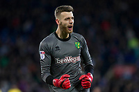 Angus Gunn of Norwich City celebrates his side's first goal during the Sky Bet Championship match between Cardiff City and Norwich City at the Cardiff City Stadium, Cardiff, Wales on 1 December 2017. Photo by Mark  Hawkins / PRiME Media Images.