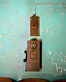 ERITREA, Arbaroba, an old phone on a train station wall in the town of Arbaroba