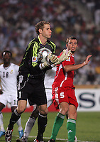 Hungary's Peter Gulacsi (1) catches an attempted goal from a corner kick by Ghana during the FIFA Under 20 World Cup Semi-final match at the Cairo International Stadium in Cairo, Egypt, on October 13, 2009. Costa Rica won the match 1-2 in overtime play. Ghana won the match 3-2.