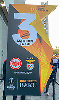 Eintracht zuversichtlich in drei Spielen im Endspiel in Baku zu stehen - 18.04.2019: Eintracht Frankfurt vs. Benfica Lissabon, UEFA Europa League, Viertelfinale, Commerzbank ArenaDISCLAIMER: DFL regulations prohibit any use of photographs as image sequences and/or quasi-video.