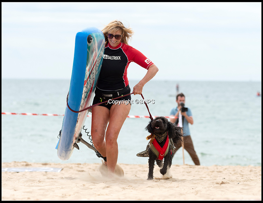 BNPS.co.uk (01202 558833)<br /> Pic:   RogerArbon/BNPS<br /> <br /> Kate Durrant and Tilly the labradoodle sprint for the finish line.<br /> <br /> Doggy paddle anyone?<br /> <br /> Branksome Dene Chine beach in Bournemouth hosted the UK dog surfing championships today (Sunday).<br /> <br /> Competitors and their four-legged friends took to the water in a series of tightly contested heats, which culminated in a sprint finish across the sand.<br /> <br /> There were also prizes for the best dressed surfing dog.