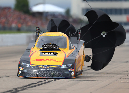 NHRA Mello Yello Drag Racing Series<br /> Menards NHRA Heartland Nationals<br /> Heartland Park, Topeka, KS USA<br /> Saturday 20 May 2017 Friday 19 May 2017 J.R. Todd, DHL, funny car <br /> <br /> World Copyright: Mark Rebilas<br /> Rebilas Photo