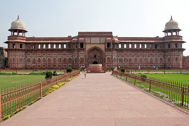Agra, India. A mosque a the Agra fort, where Shah Jahan (builder of the Taj Mahal) was kept prisoner by his son.