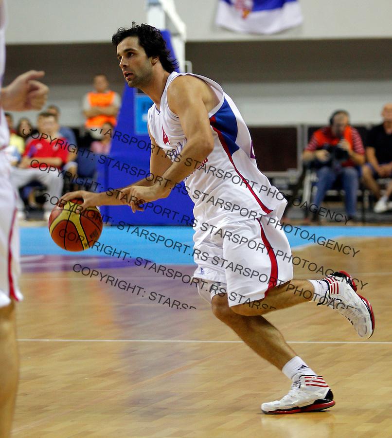 ZRENJANIN SERBIA - 5/09/2012. Milos Teodosic FIBA Eurobasket 2013 qualification basketball game Serbia vs Slovakia in Zrenjanin, Serbia(CREDIT: PEDJA MILOSAVLJEVIC / +381641260959 / thepedja@gmail.com)
