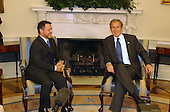 United States President George W. Bush meets King Abdullah II of Jordan in the Oval Office of the White House in Washington, D.C. on August 1, 2002..Credit: Ron Sachs / CNP