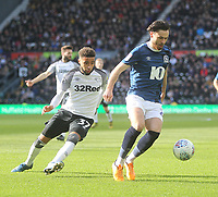 Blackburn Rovers Ben Brereton  in action with Derby County's Jayden Bogle<br /> <br /> Photographer Mick Walker/CameraSport<br /> <br /> The EFL Sky Bet Championship - Derby County v Blackburn Rovers - Sunday 8th March 2020  - Pride Park - Derby<br /> <br /> World Copyright © 2020 CameraSport. All rights reserved. 43 Linden Ave. Countesthorpe. Leicester. England. LE8 5PG - Tel: +44 (0) 116 277 4147 - admin@camerasport.com - www.camerasport.com