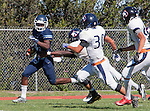 Palos Verdes, CA 09/24/16 - Ejaay Vaughn (Chadwick #3), Kellen Hirayama (Rolling Hills #30) and Garrett Han (Rolling Hills #32) in action during the non-conference CIF 8-Man Football  game between Rolling Hills Prep and Chadwick at Chadwick.