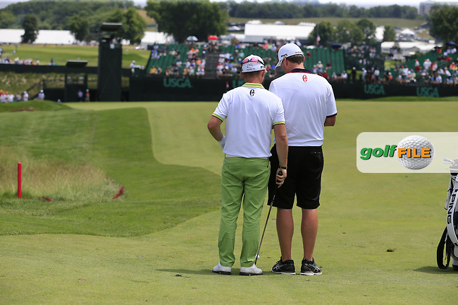 Andy Sullivan (ENG) and caddy Sean Mcdonagh on the 10th hole during Wednesday's Practice Day of the 2016 U.S. Open Championship held at Oakmont Country Club, Oakmont, Pittsburgh, Pennsylvania, United States of America. 15th June 2016.<br /> Picture: Eoin Clarke | Golffile<br /> <br /> <br /> All photos usage must carry mandatory copyright credit (&copy; Golffile | Eoin Clarke)