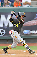 Center fielder Michael De La Cruz (54) of the Bristol Pirates bats in a game against the Pulaski Yankees on Tuesday, July 5, 2016, at Calfee Park in Pulaski, Virginia. Pulaski won, 6-3. (Tom Priddy/Four Seam Images)