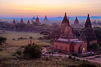Myanmar, Burma, Bagan.  Temples in Early Morning.
