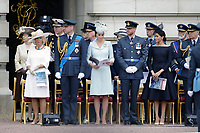 Camilla Duchess of Cambridge, Prince William, Catherine Duchess of Cambridge, Prince Harry, Meghan Duchess of Sussex, Prince Andrew<br /> The Royal Family watch RAF centenary fly-past at Buckingham Palace, The Mall, London, England on July 10, 2018.<br /> CAP/GOL<br /> &copy;GOL/Capital Pictures
