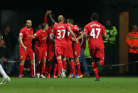 Pictured: Daniel Sturridge of Liverpool is mobbed by team mates as he is celebrating his equaliser, making the score 1-1.<br /> Monday 16 September 2013<br /> Re: Barclay's Premier League, Swansea City FC v Liverpool at the Liberty Stadium, south Wales.