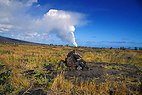 Ahu marker in the foreground with steam rising from the Kilauea lava flow in the distance
