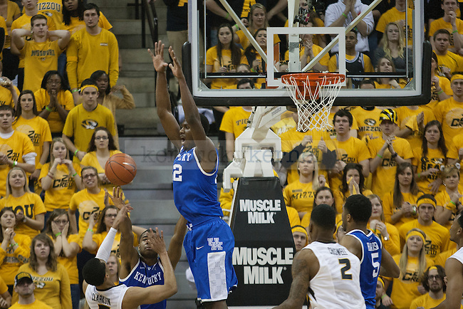 Kentucky Wildcats forward Alex Poythress (22) block on  Missouri Tigers guard Jordan Clarkson (5) secured the win for the Cats during the game between the University of Kentucky men's basketball team and University of Missouri in Columbia, Mo.,on Saturday, February 1, 2014. Kentucky defeated Missouri 84-79. Photo by Michael Reaves | Staff