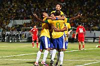 ATENÇÃO EDITOR: FOTO EMBARGADA PARA VEÍCULOS INTERNACIONAIS - RECIFE,PE,10 SETEMBRO 2012 - AMISTOSO SELEÇÃO BRASILEIRA - BRASIL X CHINA -Ramires jogador do Brasil comemora gol duarnte partida Brasil x China no Estádio José do Rego Maciel  (Arruda) em Recife na noite desta segunda feira (10).(FOTO ALE VIANNA - BRAZIL PHOTO PRESS).