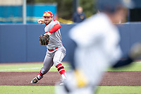 Rutgers Scarlet Knights third baseman Carmen Sclafani (19) makes a throw to first base against the Michigan Wolverines on April 27, 2019 in the NCAA baseball game at Ray Fisher Stadium in Ann Arbor, Michigan. Michigan defeated Rutgers 10-1. (Andrew Woolley/Four Seam Images)