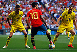 Spain's Isco Alarcon, Sweden's Lustig  and Sweden's Claesson during the Qualifiers - Group B to Euro 2020 football match between Spain and Sweden on 10th June, 2019 in Madrid, Spain. (ALTERPHOTOS/Manu Reino)