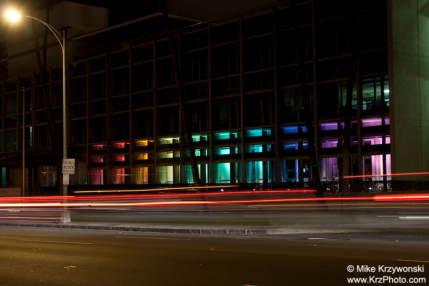 Honolulu Board of Water Supply Building at night w/ colorful lights