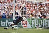 Los Angeles, CA - July 10, 1999: USA vs China, Women's World Cup 1999 Finals. USA 0, China 0. USA wins 5-4 on penalty kicks. Briana Scurry saves a key penalty kick.