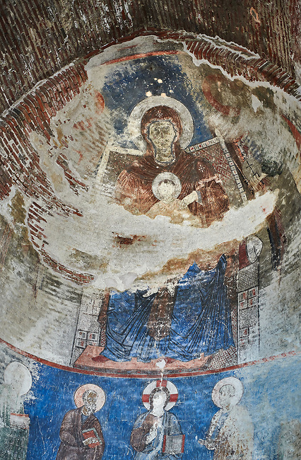 "Pictures & imagse of the interior frescoes depicting the Virgin and Child in the Timotesubani medieval Orthodox monastery Church of the Holy Dormition (Assumption), dedcated to the Virgin Mary, 1184-1213, Samtskhe-Javakheti region, Georgia (country).<br /> <br /> Built during the reigh of Queen Tamar during the ""Golden Age of Georgia"", Timotesubani Church of the Holy Dormition is one of the most important examples of medieval Georgian architecture and art. <br /> <br /> The interior frescoes of date from the 11th - 13th century so the Timotesubani church of the Dormition is a treasure trove of medieval Georgian art created during the reign of Queen Tamar. The fresco murals have been rescued and preserved by the Global Fund of Cultural Heritage."