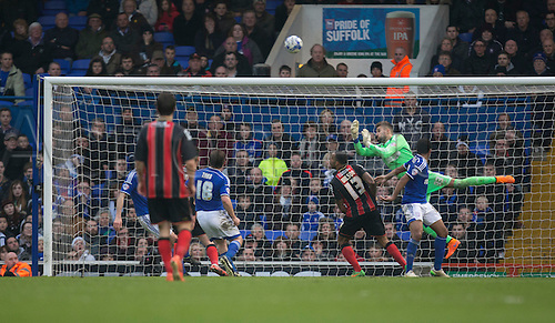 03.04.2015.  Ipswich, England. Skybet Championship. Ipswich Town versus AFC Bournemouth. Ipswich Town's Bartosz Białkowski makes the save to deny Bournemouth what would have been a certain winner in the last minute.
