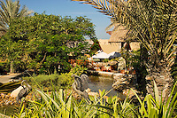 Dubai.  Gardens and pond at exclusive villa development, Beit al Bahar, attached to Jumeirah Beach Hotel..