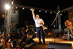 Greece's Prime Minister Alexis Tsipras delivers a speech during a rally organized by supporters of the no vote in Athens. A new opinion poll shows a dead heat in Greece's referendum campaign with just two days to go before Sunday's vote on whether Greeks should accept more austerity in return for bailout loans.
