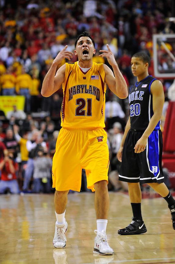 An animated Greivis Vasquez of the Terrapins fires up the crowd after his team took the lead for good. Maryland defeated Duke 79-72 at the Comcast Center in College Park, MD on Wednesday, March 3, 2010. Alan P. Santos/DC Sports Box