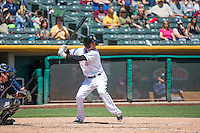 Ryan Jackson (5) of the Salt Lake Bees at bat against the Reno Aces in Pacific Coast League action at Smith's Ballpark on May 10, 2015 in Salt Lake City, Utah.  Salt Lake defeated Reno 9-2 in Game One of the double-header. (Stephen Smith/Four Seam Images)